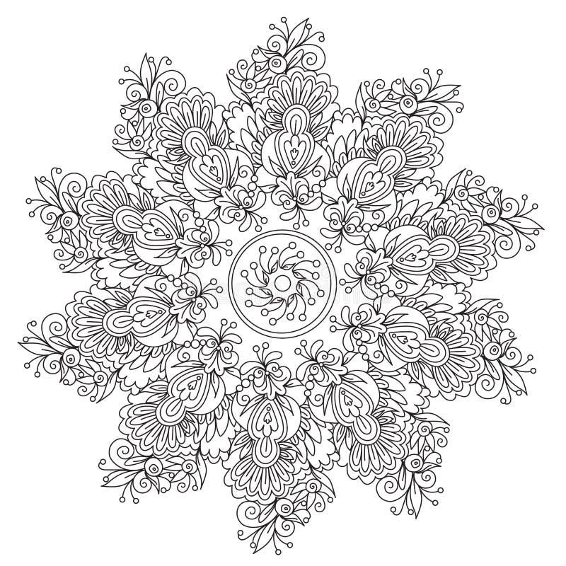 Floral αφαίρεση Mandala χρωματισμού απεικόνιση αποθεμάτων