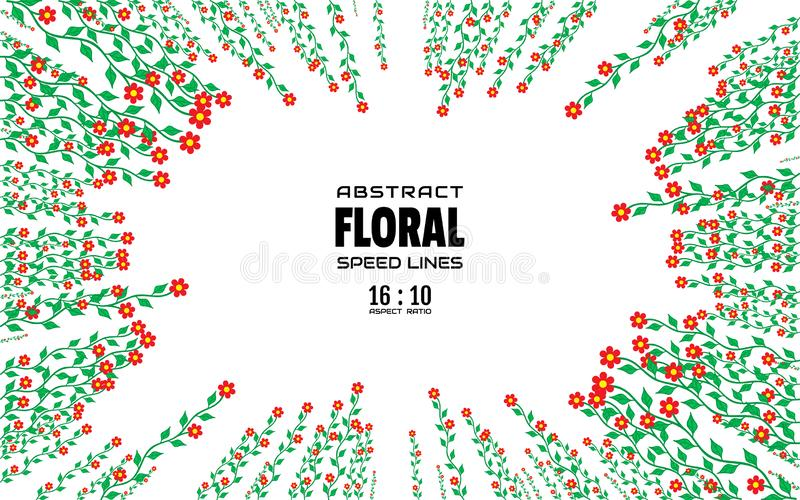 Floral αφηρημένο υπόβαθρο με το διάστημα για το κείμενο Ακτινωτές ακτίνες από το κέντρο του πλαισίου με την έκρηξη επίδρασης Πρότ ελεύθερη απεικόνιση δικαιώματος