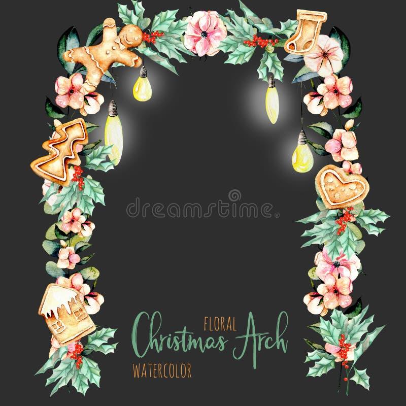 Floral αψίδα Χριστουγέννων Watercolor με την ένωση των λαμπτήρων για το σχέδιο διακοπών ελεύθερη απεικόνιση δικαιώματος
