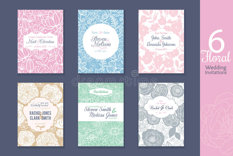 Floral γάμος έξι, εκτός από τις προσκλήσεις ημερομηνίας που τίθενται με τα ονόματα νυφών και νεόνυμφων απεικόνιση αποθεμάτων