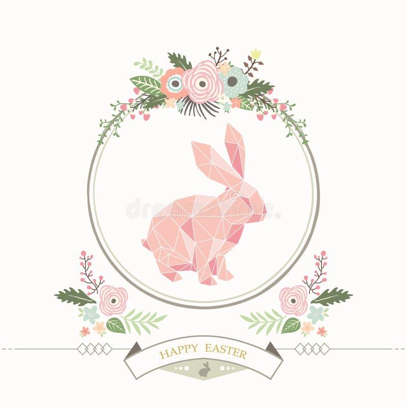 Floral γεωμετρική κάρτα Πάσχας λαγουδάκι απεικόνιση αποθεμάτων