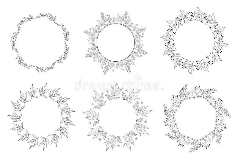 Floral γραπτή συλλογή πλαισίων στο ύφος γραμμών Σύνολο των χαριτωμένων αναδρομικών τακτοποιημένων φύλλο Η.Ε μια μορφή του στεφανι ελεύθερη απεικόνιση δικαιώματος