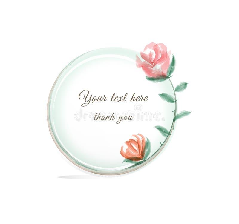 Floral γραφικά πλαίσιο και έμβλημα απεικόνισης λουλουδιών Watercolor ελεύθερη απεικόνιση δικαιώματος