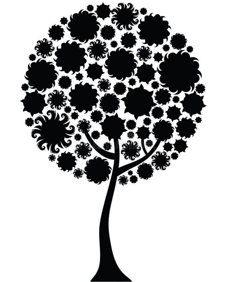 floral δέντρο σκιαγραφιών διανυσματική απεικόνιση