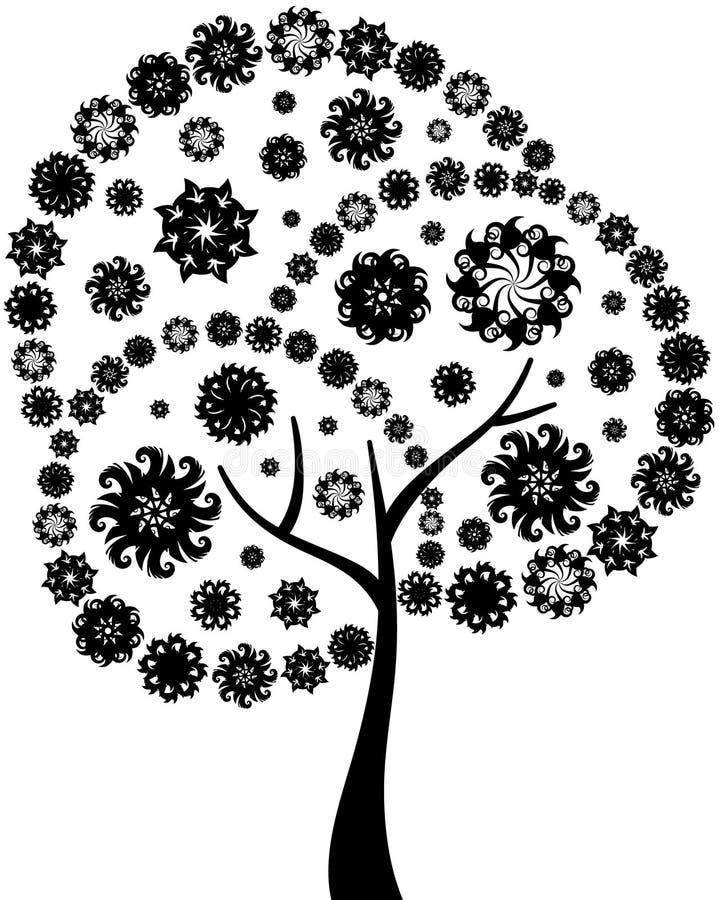 floral δέντρο σκιαγραφιών ελεύθερη απεικόνιση δικαιώματος
