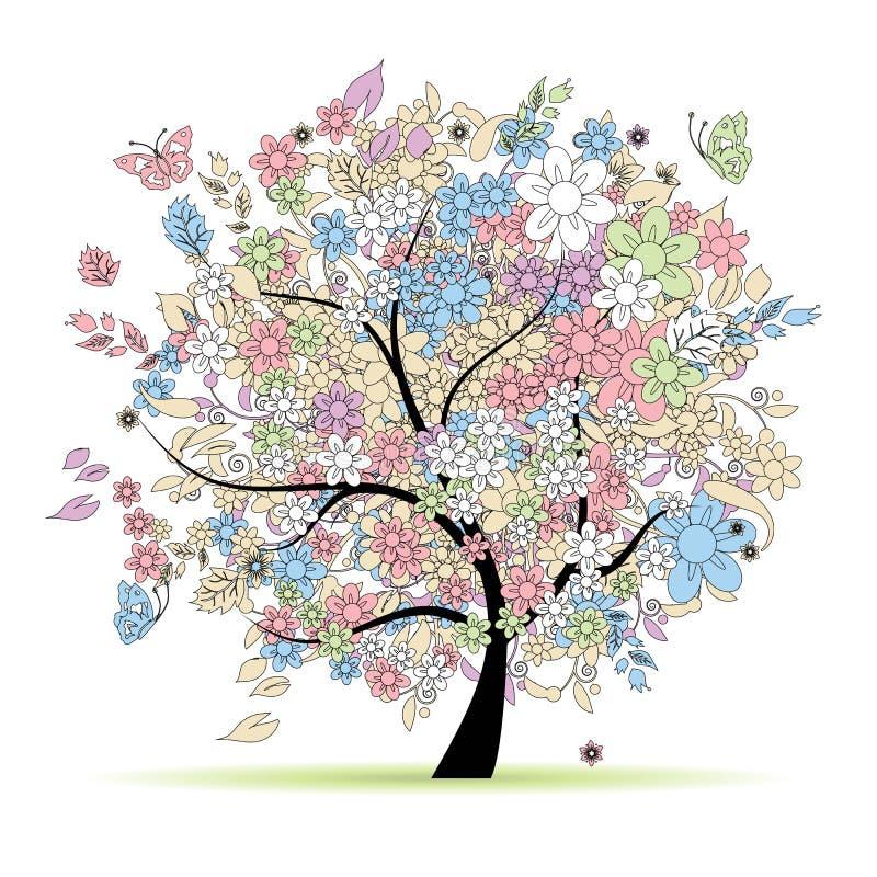 Floral δέντρο στα χρώματα κρητιδογραφιών, άνοιξη διανυσματική απεικόνιση
