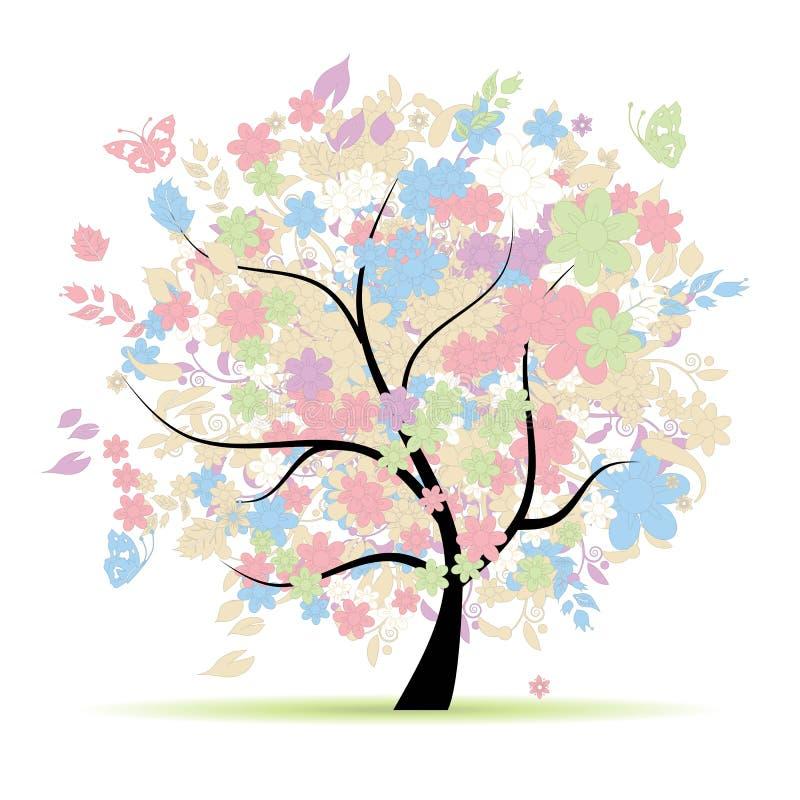 Floral δέντρο στα χρώματα κρητιδογραφιών διανυσματική απεικόνιση