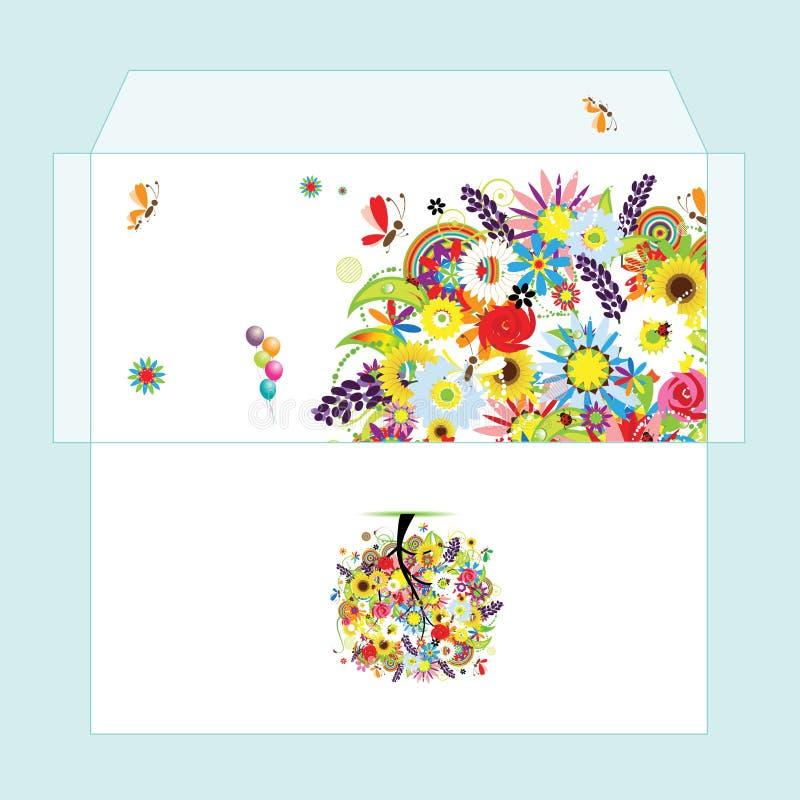 floral δέντρο φακέλων σχεδίου ελεύθερη απεικόνιση δικαιώματος