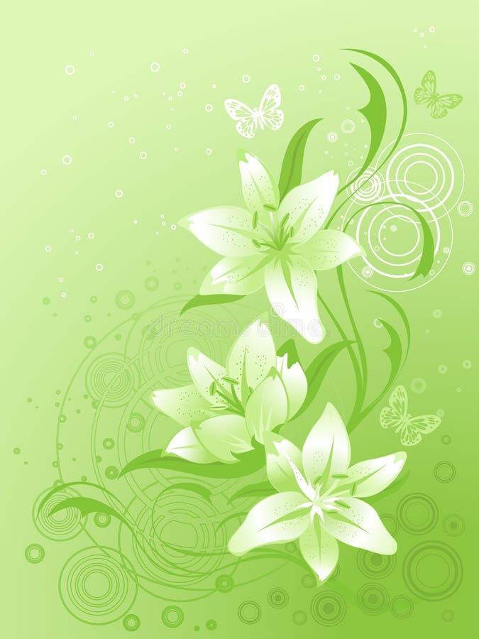 floral διάνυσμα κρίνων ανασκόπη&sigma απεικόνιση αποθεμάτων