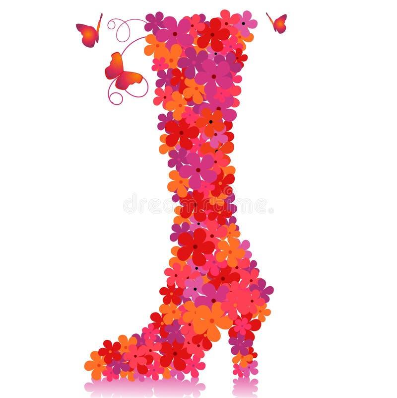 floral διάνυσμα παπουτσιών στοκ φωτογραφία