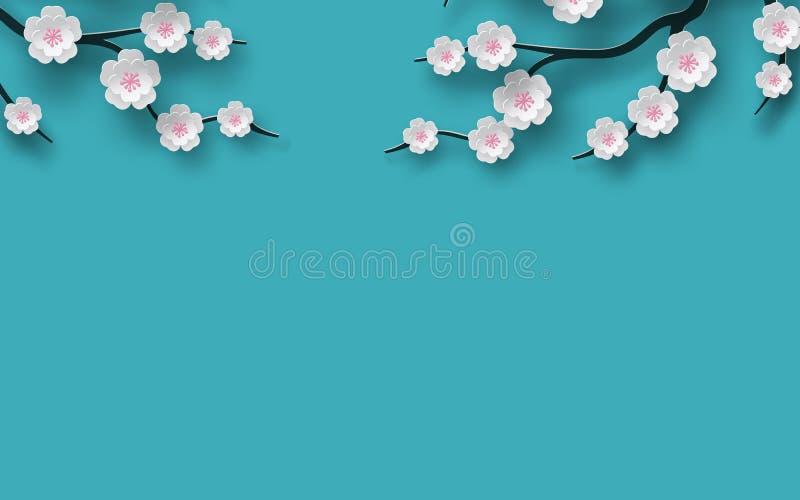 Floral διακοσμημένος υπόβαθρο ανθίζοντας κλάδος λουλουδιών κερασιών, φωτεινό μπλε σκηνικό για το σχέδιο χρονικής εποχής άνοιξης έ διανυσματική απεικόνιση