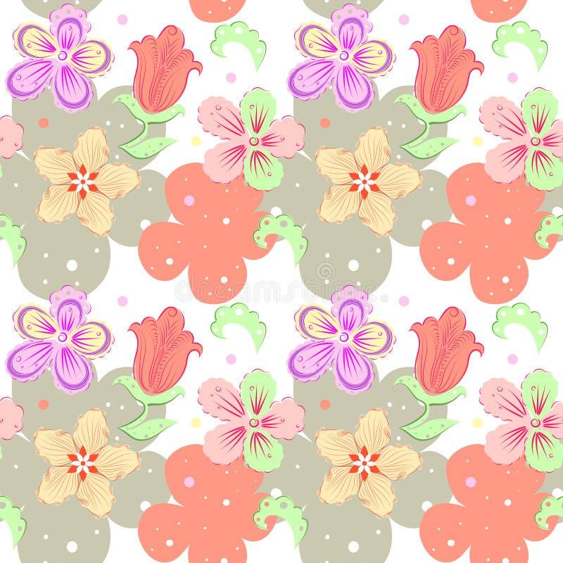 Floral διακοσμητικό άνευ ραφής σχέδιο με τα hand-drawn λουλούδια φαντασίας στα χρώματα κρητιδογραφιών σε ένα άσπρο υπόβαθρο ελεύθερη απεικόνιση δικαιώματος