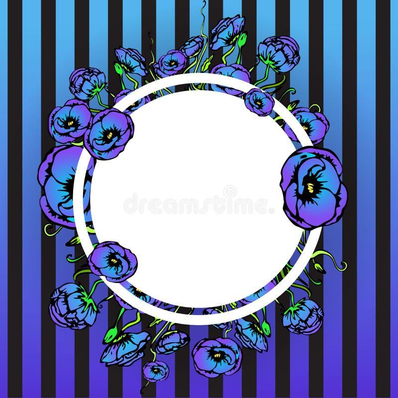 Floral διακόσμηση παπαρουνών στην ετικέτα κύκλων, flayer πρότυπο για τον Ιστό και τυπωμένη ύλη με το ριγωτό Μαύρο ελεύθερη απεικόνιση δικαιώματος