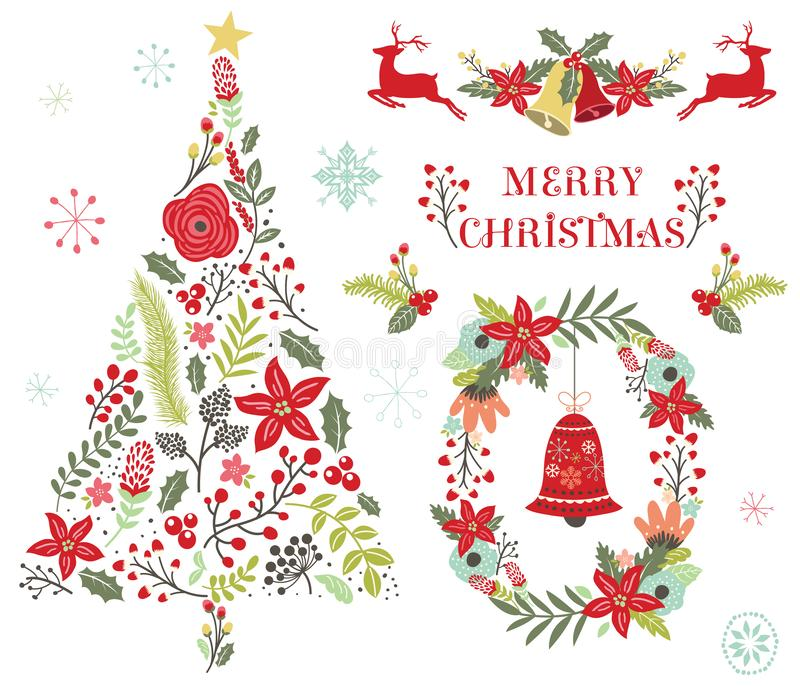 Floral διακόσμηση χριστουγεννιάτικων δέντρων ελεύθερη απεικόνιση δικαιώματος