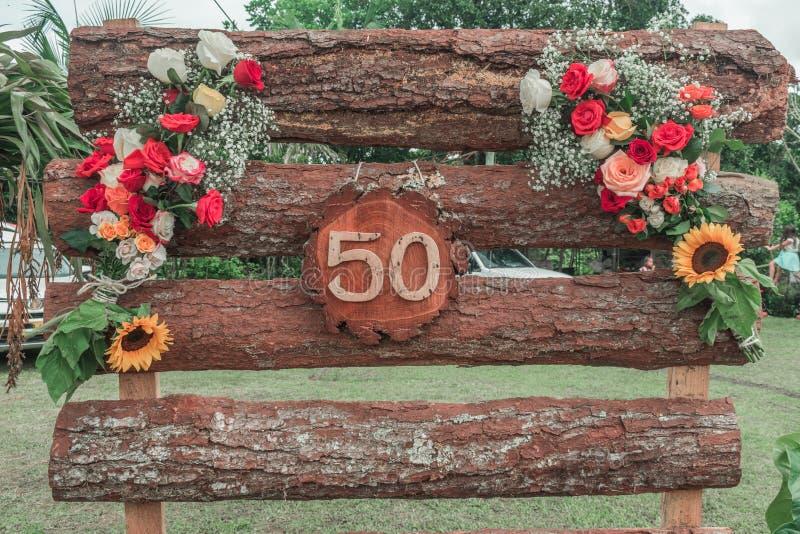 Floral διακόσμηση χώρας με τον αριθμό 50 στοκ φωτογραφία