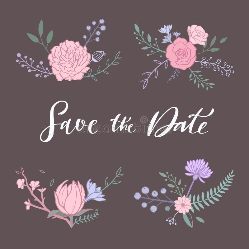 Floral διανυσματική ανθοδέσμη με το ροδαλό, peony, anemone, sakura, άγρια λουλούδια Συρμένα χέρι αγροτικά απομονωμένα αντικείμενα διανυσματική απεικόνιση
