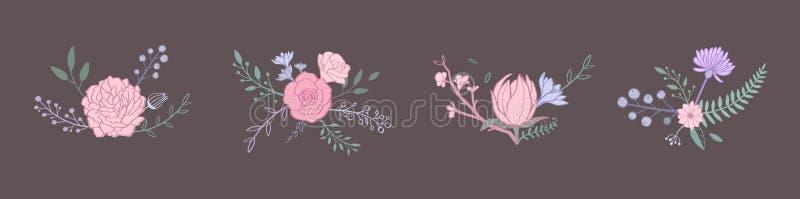 Floral διανυσματική ανθοδέσμη χρώματος κρητιδογραφιών με το ροδαλό, peony, anemone, sakura, άγρια λουλούδια Συρμένα χέρι αγροτικά διανυσματική απεικόνιση