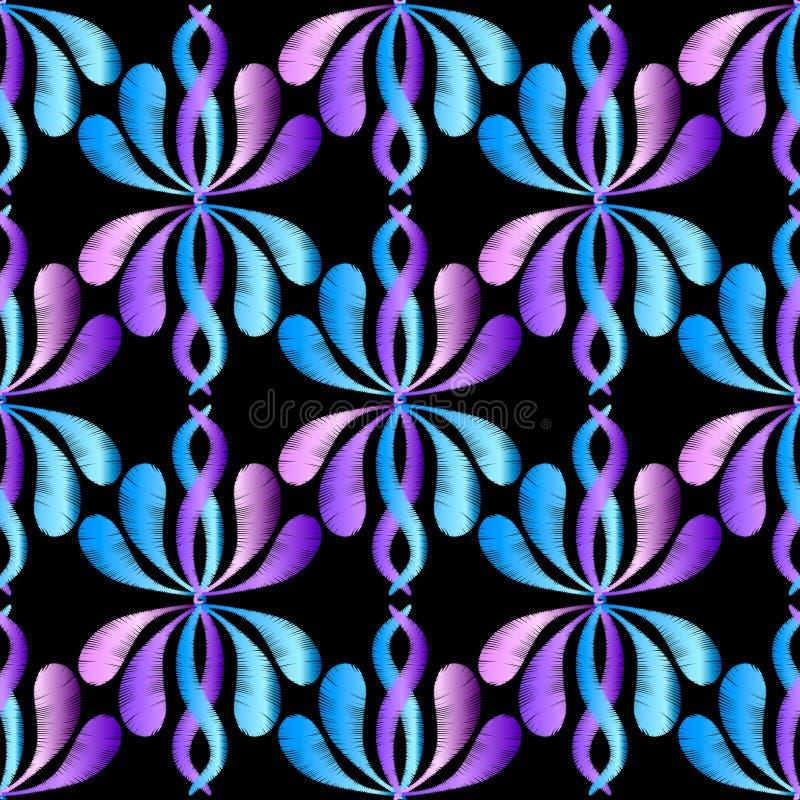 Floral διανυσματικό άνευ ραφής σχέδιο κεντητικής μεταξιού απεικόνιση αποθεμάτων