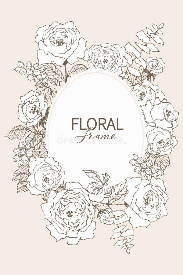 Floral διανυσματικό πλαίσιο σχεδίου Γραμμικά τριαντάφυλλα, ευκάλυπτος, μούρα, άσπρη σκιαγραφία φύλλων witn Γαμήλια κάρτα στο ροζ  διανυσματική απεικόνιση