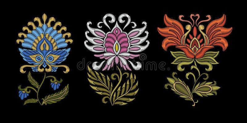 Floral εθνικό σχέδιο κεντητικής ελεύθερη απεικόνιση δικαιώματος
