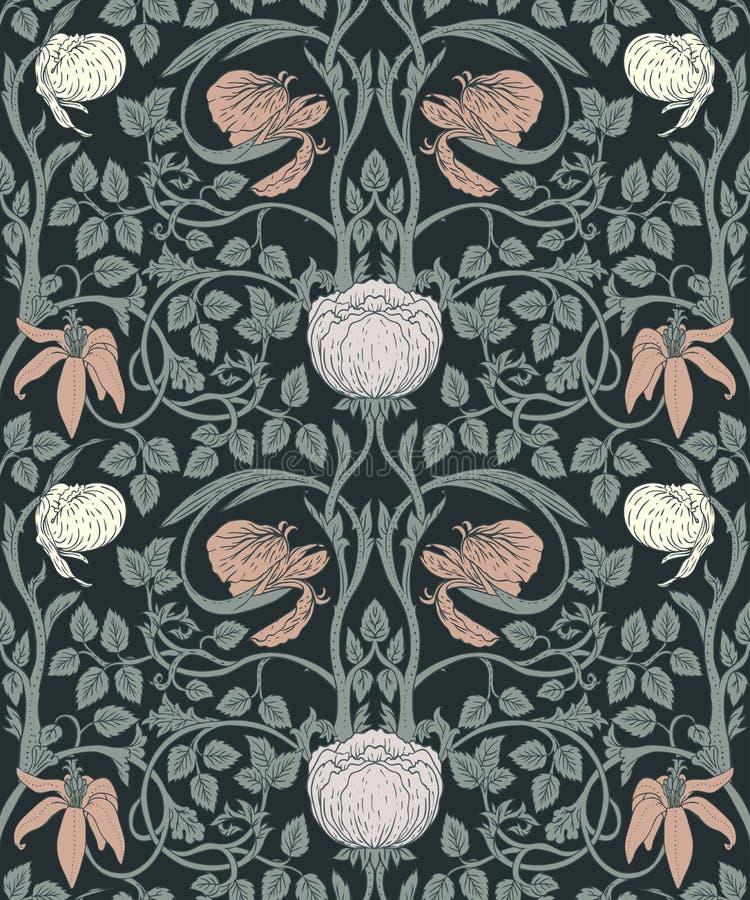 Floral εκλεκτής ποιότητας άνευ ραφής σχέδιο για τις αναδρομικές ταπετσαρίες _ ελεύθερη απεικόνιση δικαιώματος