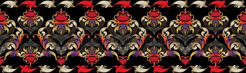 Floral εκλεκτής ποιότητας σύνορα Άνευ ραφής σχέδιο καρδιών αγάπης Διανυσματικό dama διανυσματική απεικόνιση