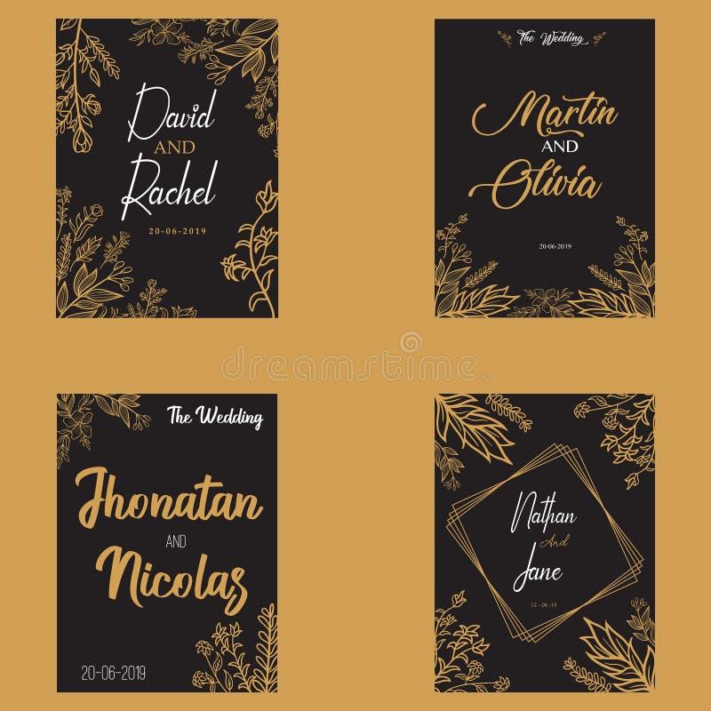 Floral εκτός από το χρυσό διανυσματικό σχέδιο ημερομηνίας απεικόνιση αποθεμάτων
