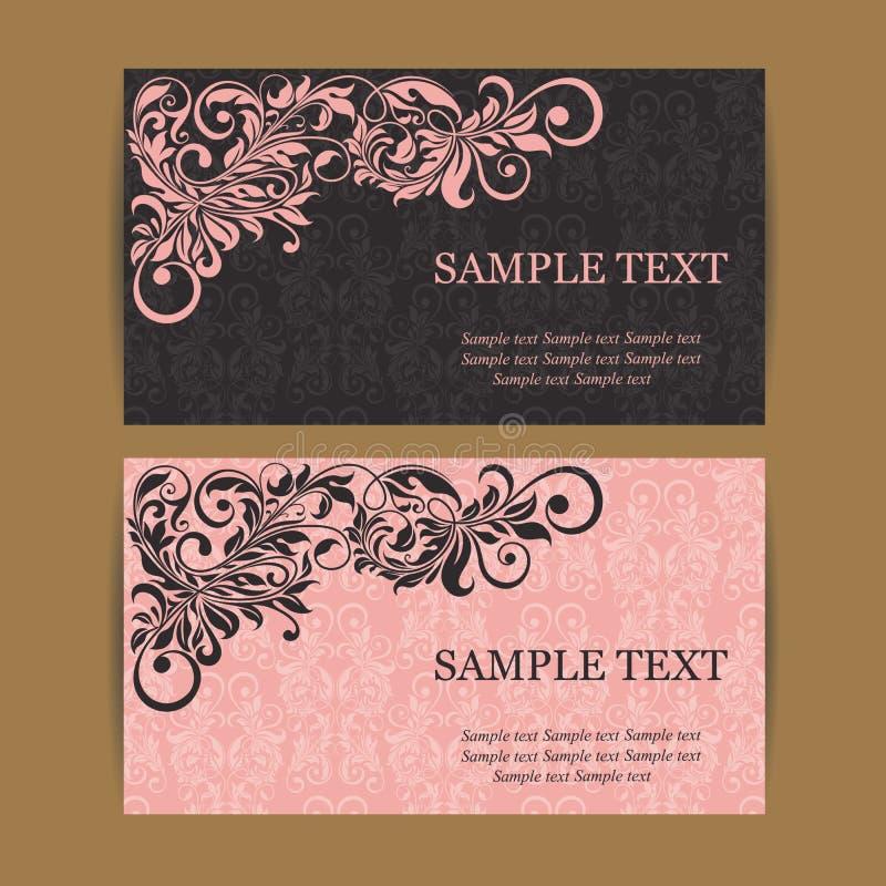 Floral εκλεκτής ποιότητας επαγγελματικές κάρτες απεικόνιση αποθεμάτων