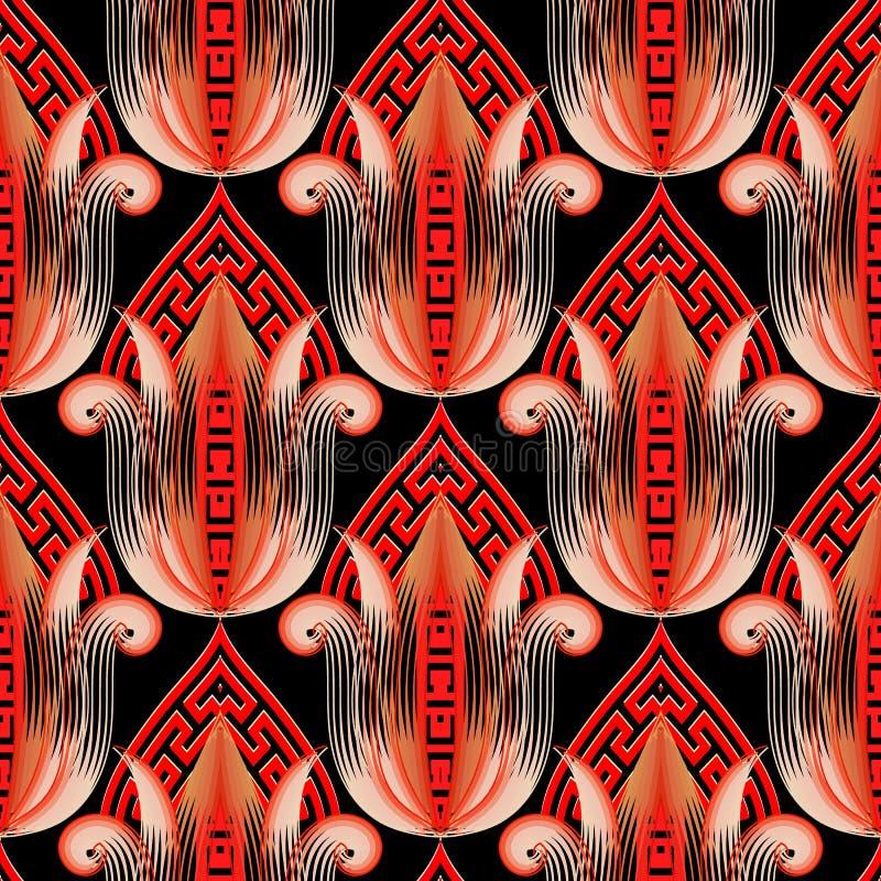 Floral ελληνικό εθνικό τρισδιάστατο διανυσματικό άνευ ραφής σχέδιο ύφους Αφηρημένο κόκκινο υπόβαθρο τουλιπών Επαναλάβετε το ζωηρό ελεύθερη απεικόνιση δικαιώματος