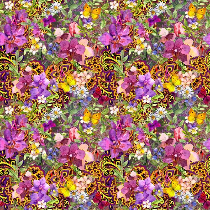 floral επανάληψη ανασκόπησης Σύγχρονη ασιατική διακόσμηση Paisley, λουλούδια watercolour διανυσματική απεικόνιση