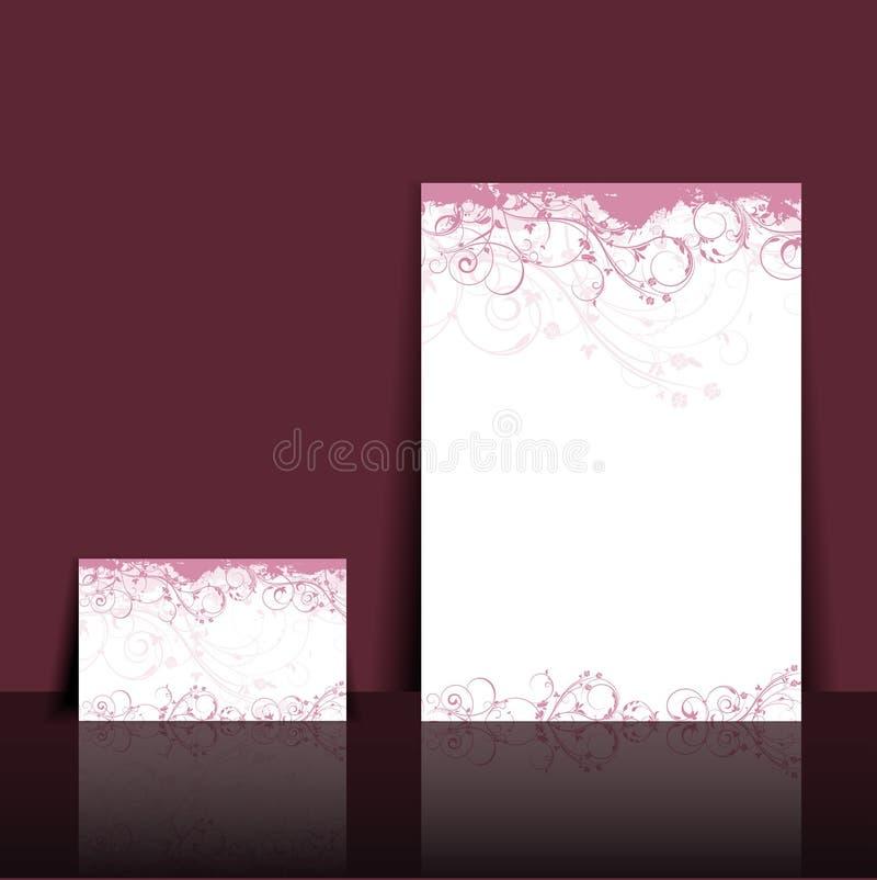floral επικεφαλίδα σχεδίου επαγγελματικών καρτών διανυσματική απεικόνιση