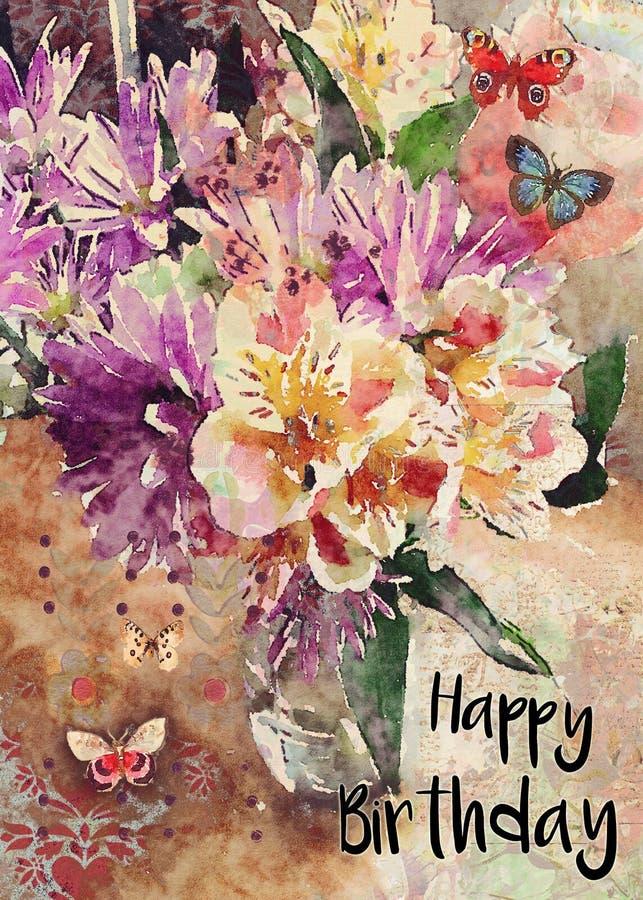 Floral ευχετήρια κάρτα ανθοδεσμών Watercolor χρόνια πολλά απεικόνιση αποθεμάτων