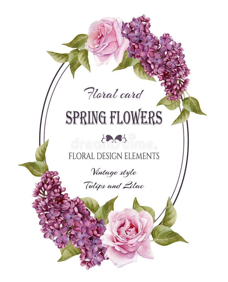Floral ευχετήρια κάρτα στο εκλεκτής ποιότητας ύφος διανυσματική απεικόνιση