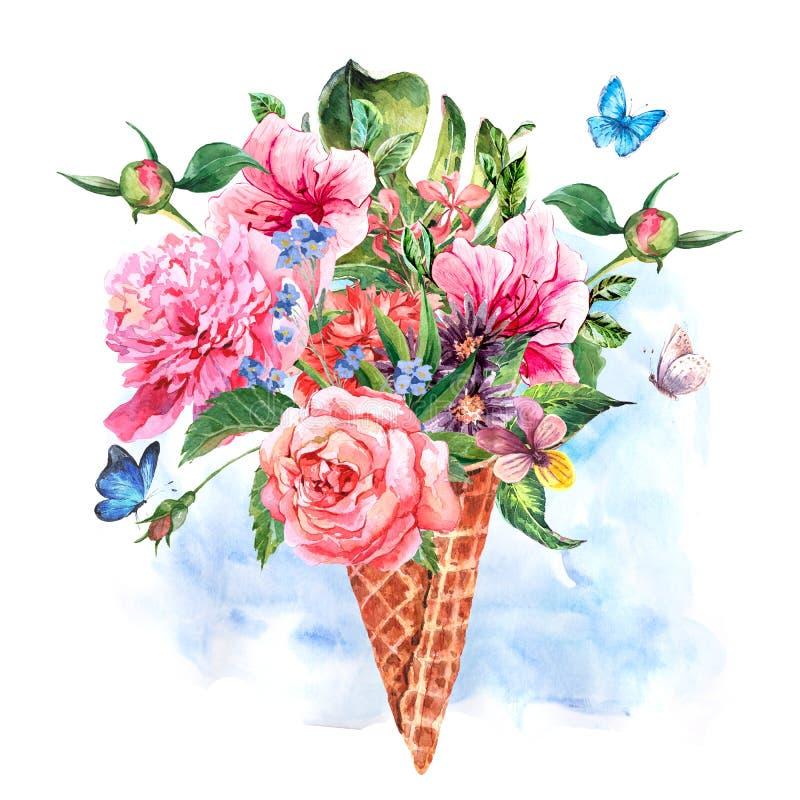 Floral ευχετήρια κάρτα watercolor σχεδίων θερινών χεριών απεικόνιση αποθεμάτων