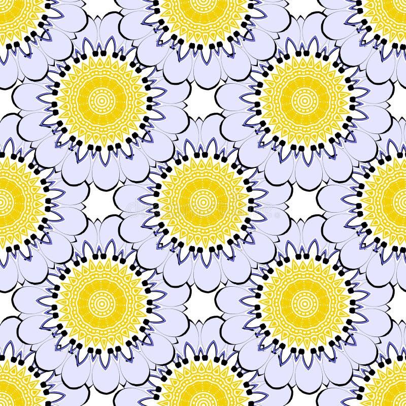 Floral ζωηρόχρωμος που κεραμώνεται γύρω από τα mandalas το διανυσματικό άνευ ραφής σχέδιο Διακοσμητικό flowery υπόβαθρο κομψότητα απεικόνιση αποθεμάτων