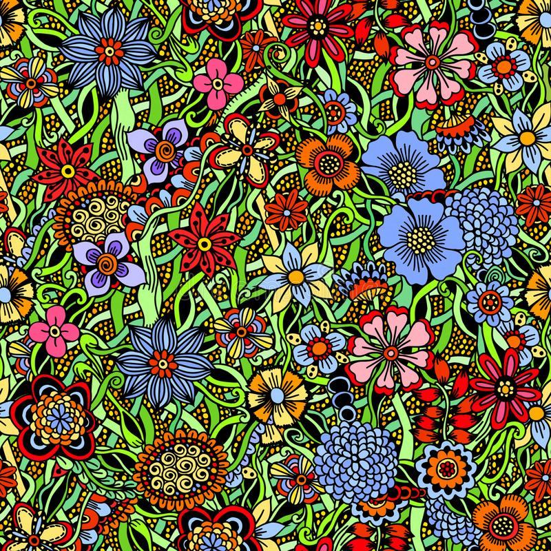 Floral ζωηρόχρωμο άνευ ραφής σχέδιο ελεύθερη απεικόνιση δικαιώματος