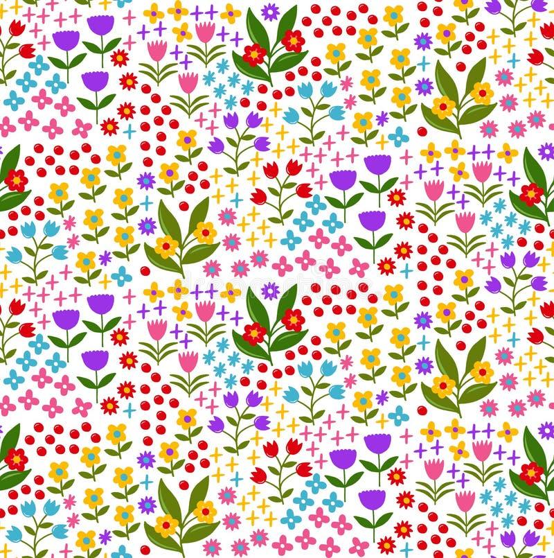 Floral ζωηρόχρωμο χαριτωμένο καθιερώνον τη μόδα άνευ ραφής διανυσματικό σχέδιο λουλουδιών διανυσματική απεικόνιση