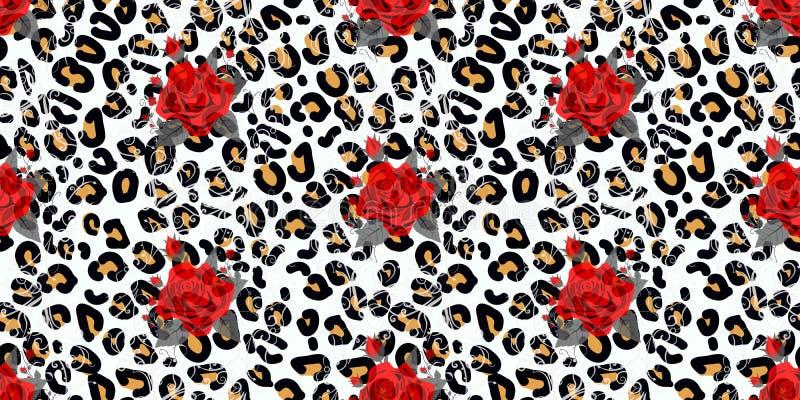 Floral ζωική άνευ ραφής τυπωμένη ύλη σχεδίου Ανθοδέσμες σύστασης και λουλουδιών λεοπαρδάλεων Κόκκινος αυξήθηκε, burgundy κόκκινο  διανυσματική απεικόνιση
