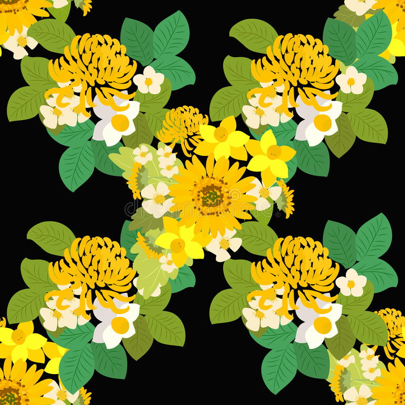 Floral ηλίανθος, νάρκισσοι, απεικόνιση υποβάθρου χρυσάνθεμων απεικόνιση αποθεμάτων