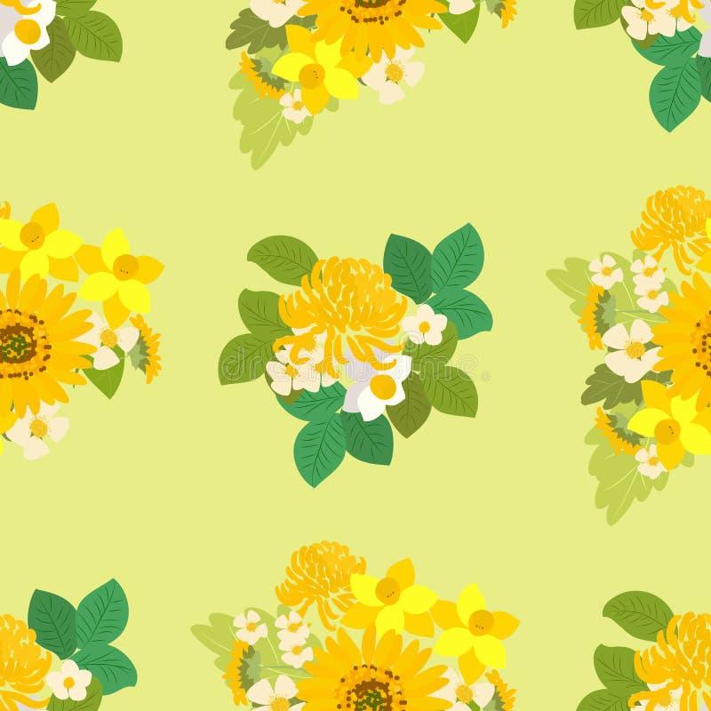 Floral ηλίανθος, νάρκισσοι, απεικόνιση υποβάθρου χρυσάνθεμων διανυσματική απεικόνιση