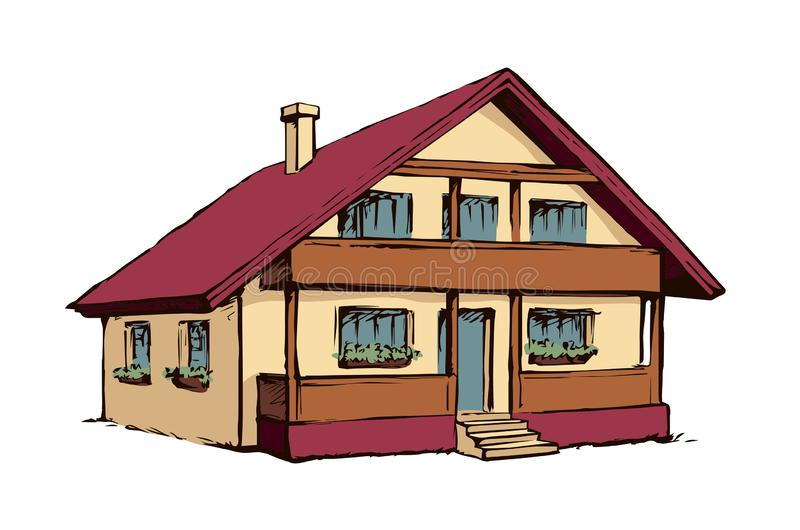 Διανυσματικό σχέδιο Σπίτι ελεύθερη απεικόνιση δικαιώματος