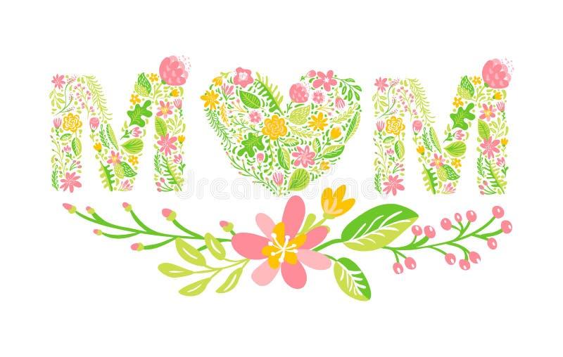 Floral θερινή λέξη Mom Κύριες γαμήλιες κεφαλαίες επιστολές λουλουδιών Ζωηρόχρωμη πηγή με τα λουλούδια και τα φύλλα επίσης corel σ διανυσματική απεικόνιση