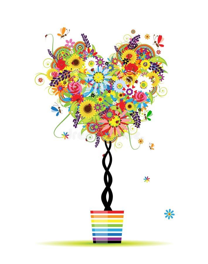floral θερινό δέντρο μορφής δοχ&eps διανυσματική απεικόνιση
