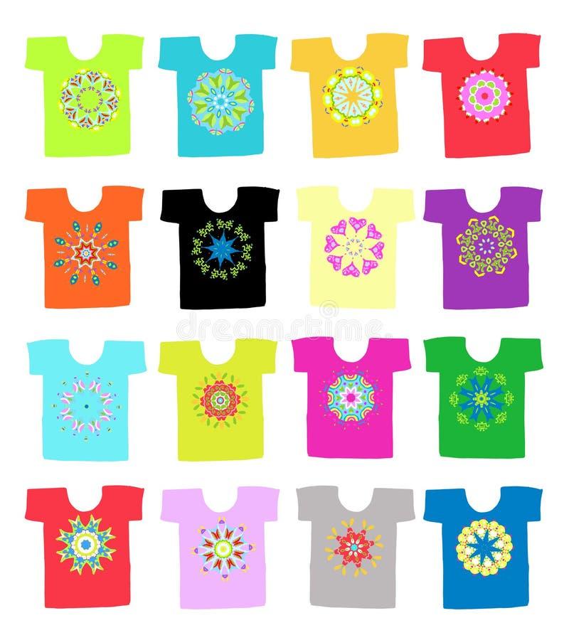 Floral διακόσμηση στην άσπρη μπλούζα, συλλογή για διανυσματική απεικόνιση
