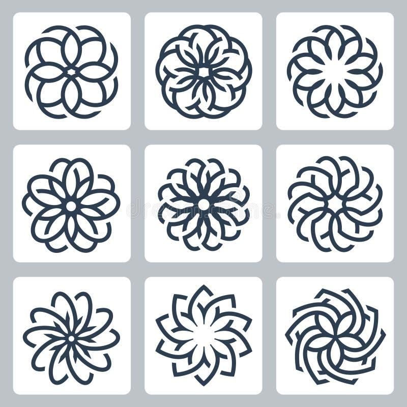 Floral διανυσματικά εικονίδια σχεδίων απεικόνιση αποθεμάτων