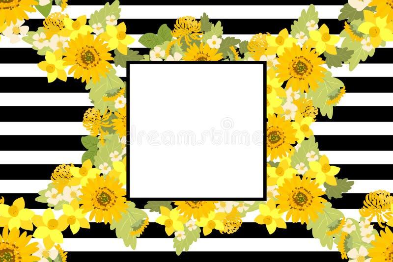 Floral διανυσματική απεικόνιση υποβάθρου ναρκίσσων χρυσάνθεμων ηλίανθων φραουλών απεικόνιση αποθεμάτων