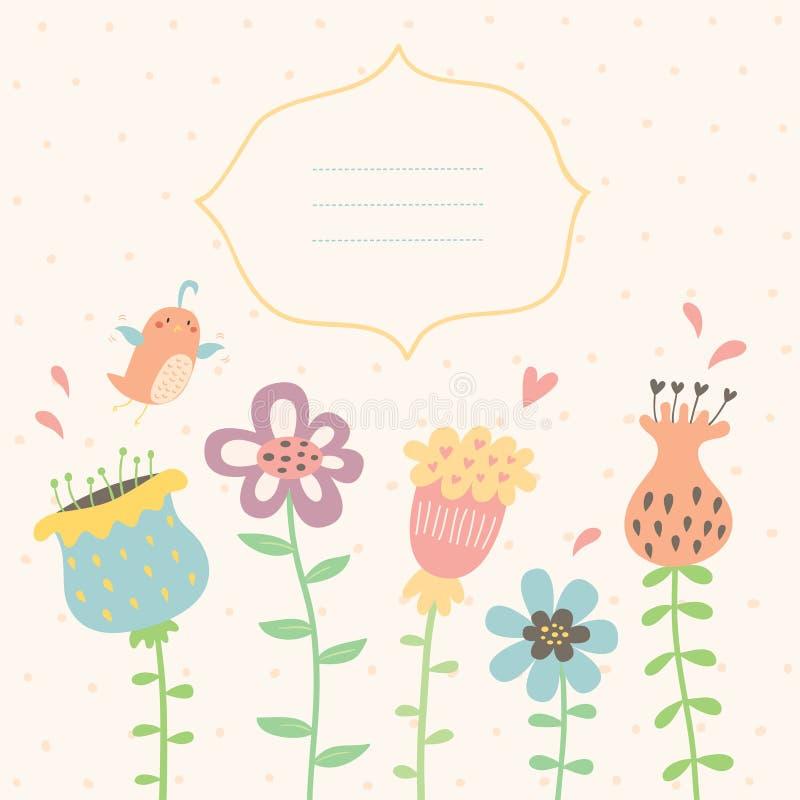 Floral διανυσματική ευχετήρια κάρτα διανυσματική απεικόνιση
