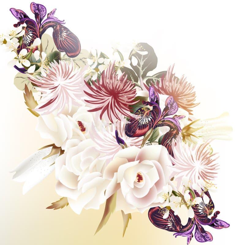 Floral διανυσματικό υπόβαθρο με τα τριαντάφυλλα και άλλα λουλούδια απεικόνιση αποθεμάτων