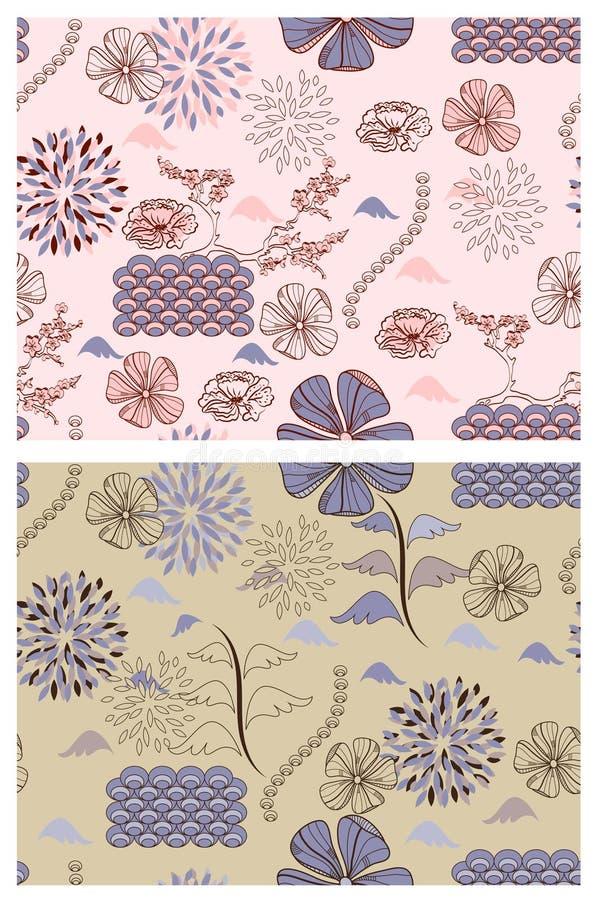 floral ιαπωνικό ύφος προτύπων ελεύθερη απεικόνιση δικαιώματος