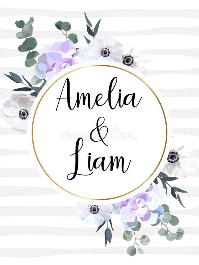Floral κάρτα γαμήλιας πρόσκλησης με τα anemones, succulent, φύλλα eucalypyus στο ύφος watercolor απεικόνιση αποθεμάτων